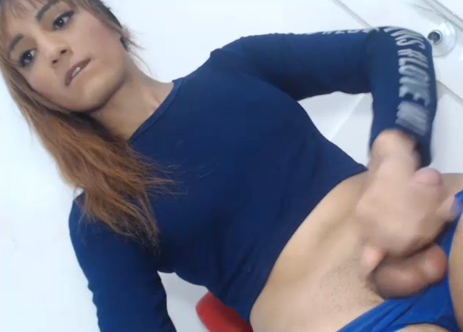 Delicious horny latina tgirl with wet dick