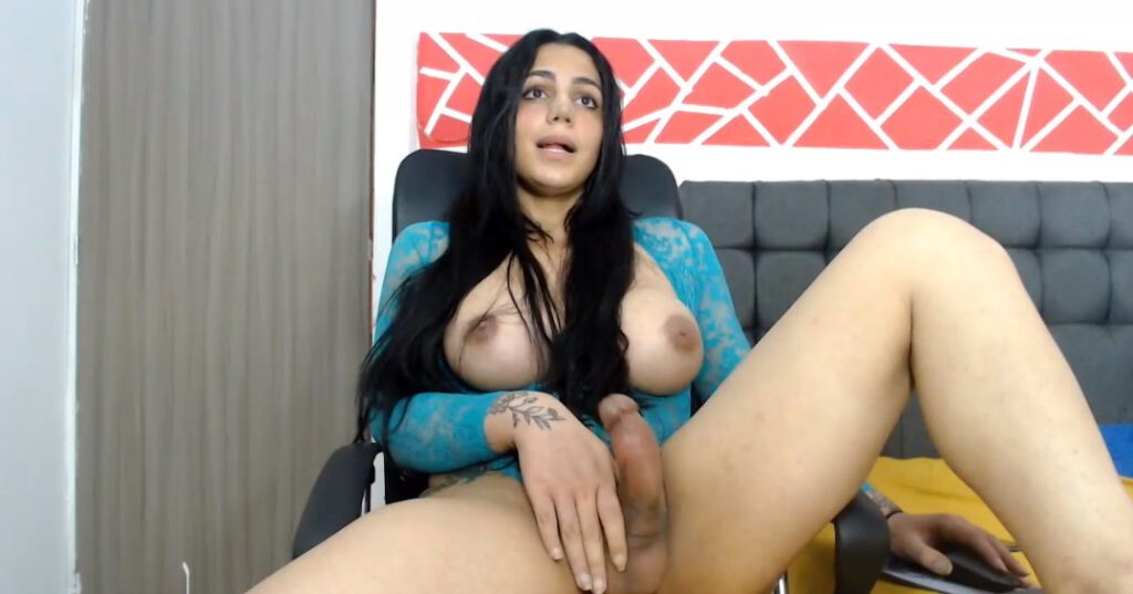 Shemale Kim asks if you want to join in masturbation